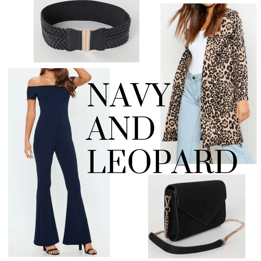 outfit panel with navy jumpsuit, leopard jacket, black clutch, and black belt