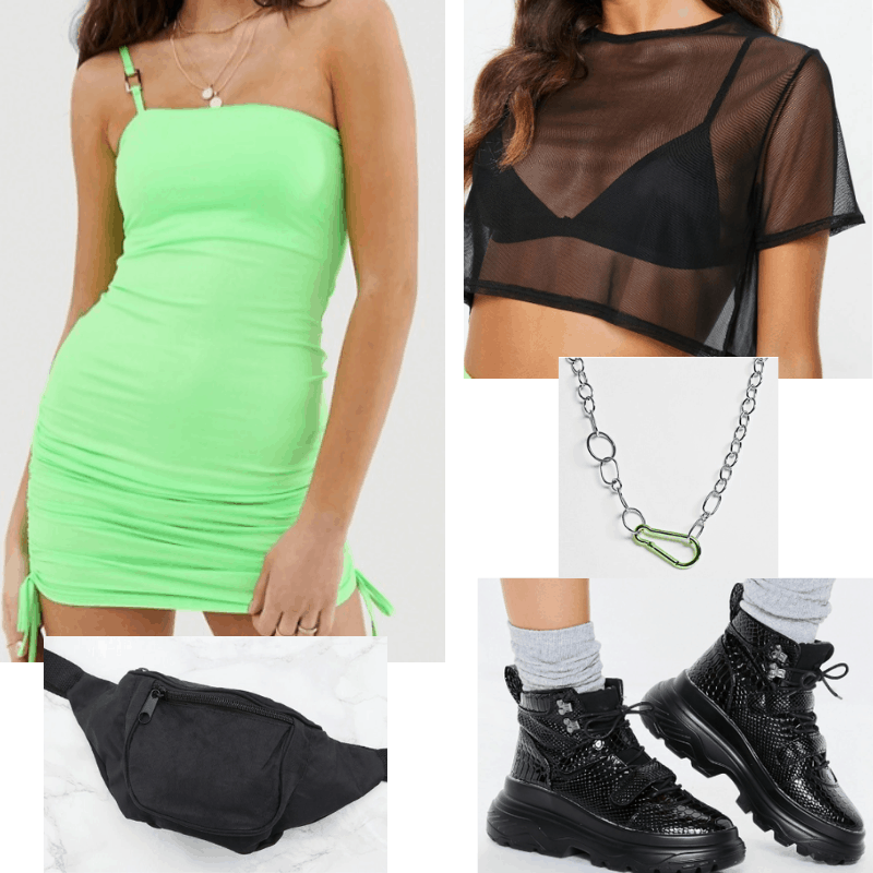 Coachella outfit 2: Neon dress, chunky sneakers, fanny pack, mesh top