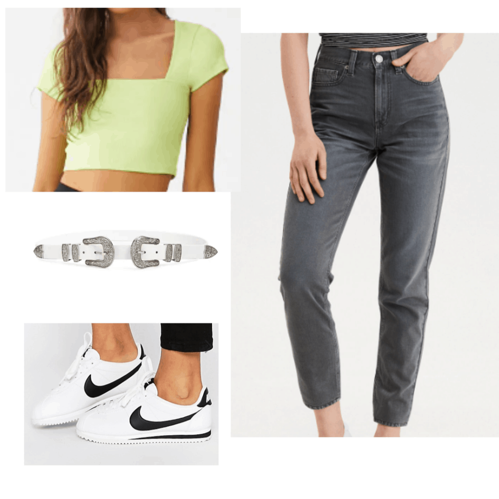 Cute outfit for class with neon crop top, black high waisted jeans, white belt, black nike sneakers