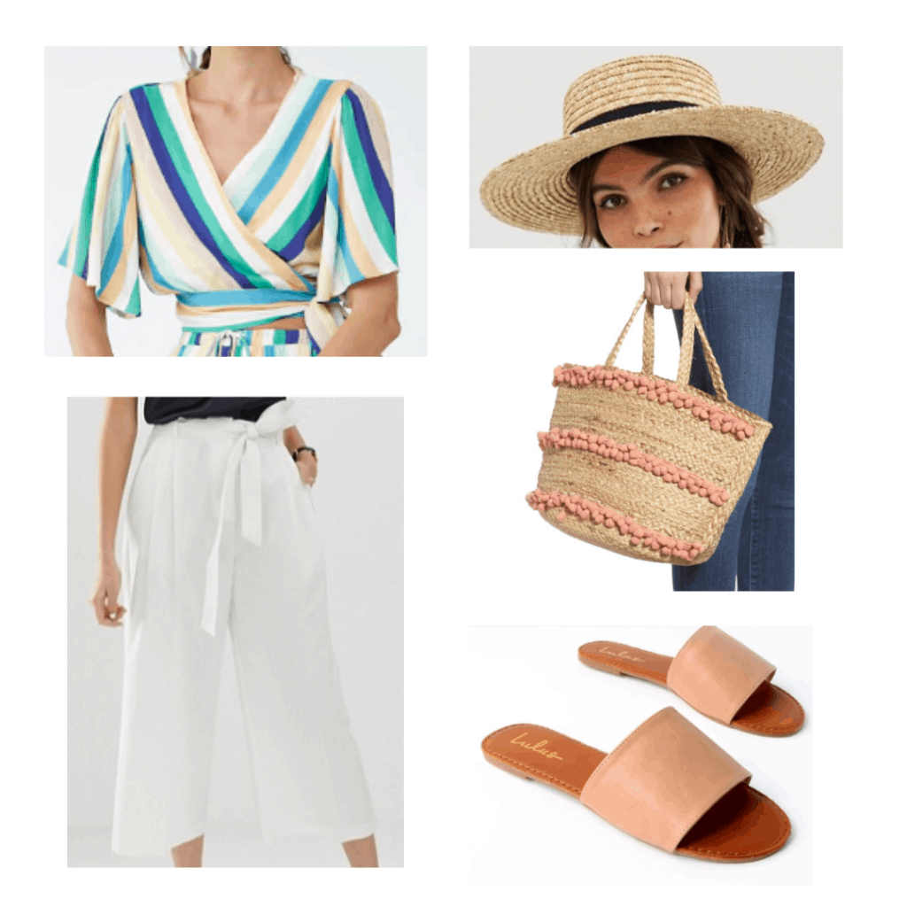 colorful striped tie top, straw boater hat, white linen pants, pink pom pom straw tote, pink slide sandals