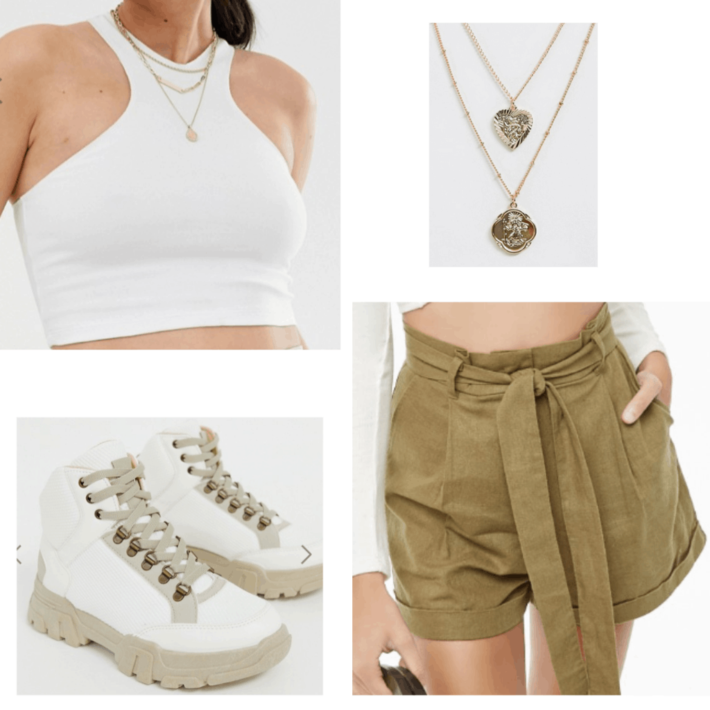 Outfit idea for class: White crop top, white desert boots, high waisted shorts, necklaces