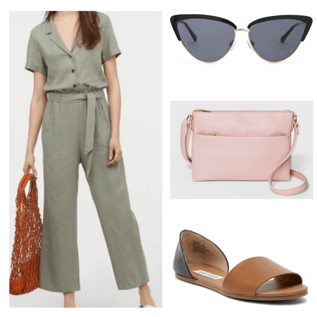 What to wear in Thailand: Outfit idea with green linen jumpsuit, cat eye sunglasses, pink crossbody bag, open toe flats