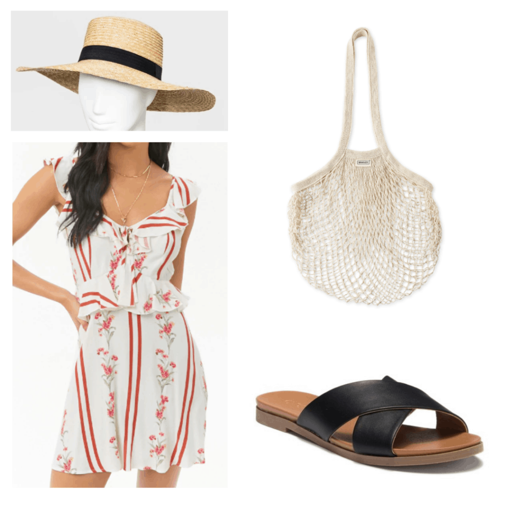 Outfit to wear in Phuket Thailand with sun hat, floral ruffled summer dress, open knit market tote, criss cross black sandals