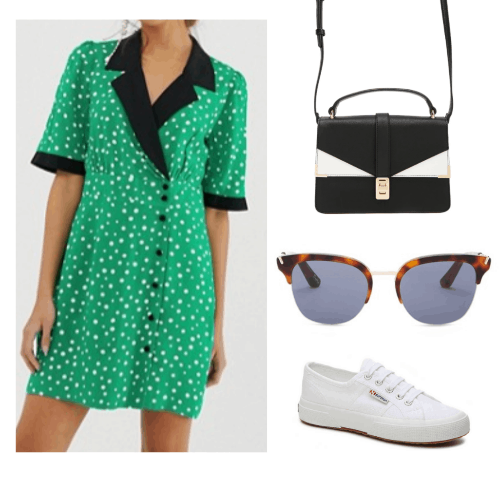green white polka dot dress with black collar, white and black detailed cross body bag, tortoiseshell sunglasses, white superga shoes