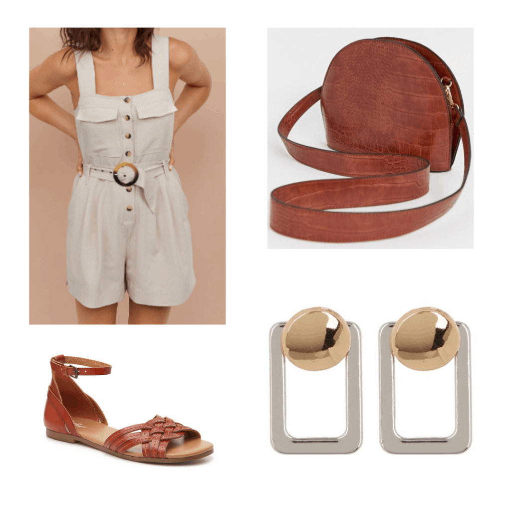 beige romper, half moon leather brown bag, brown sandals, geometric earrings