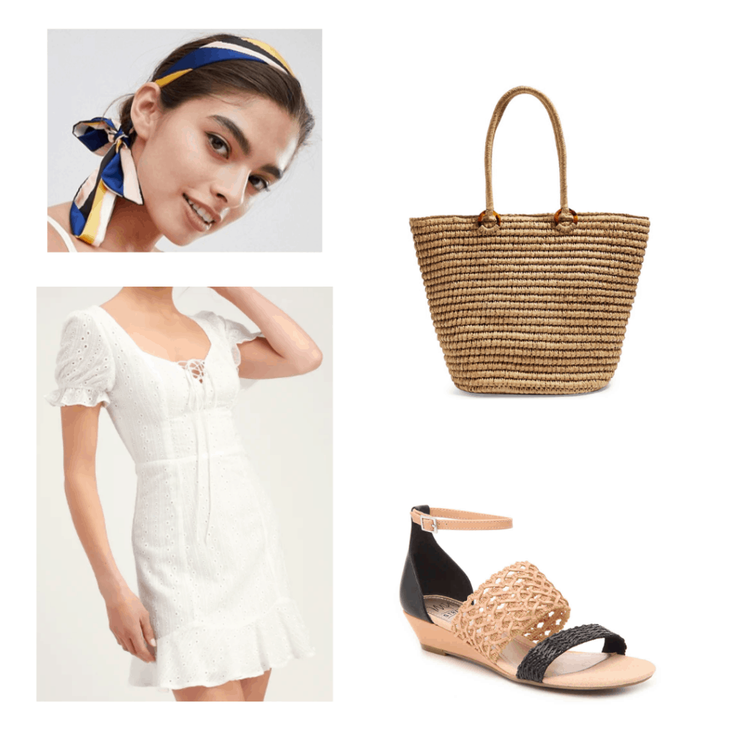 scarf headband, white summer dress, straw bag, two toned wedge sandal