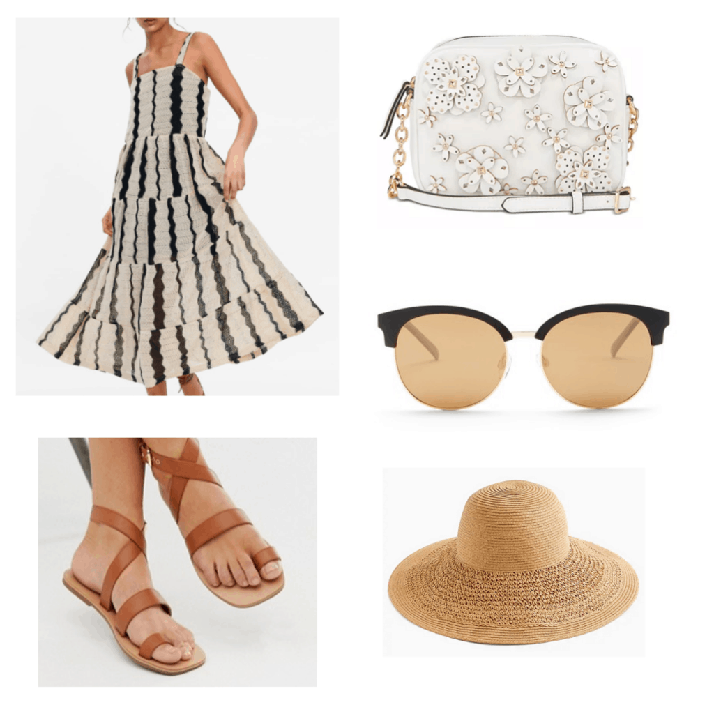 What to wear in Thailand: Outfit with striped weave dress, 3d flower camera bag, sunglasses, brown sandals, straw hat
