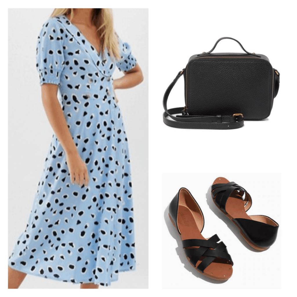 black and white spotted blue dress, black camera bag, black sandal flats