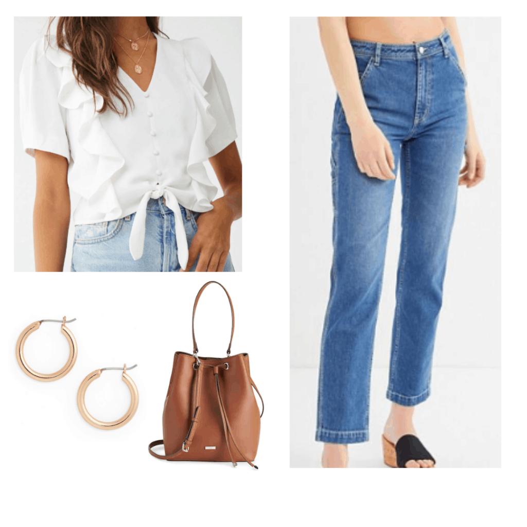 flutter tie white shirt, vintage jeans, gold hoops, brown bucket bag