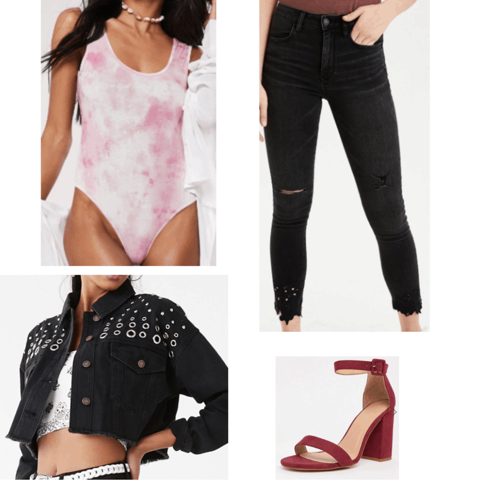How to wear tie dye trend for a night out: Outfit idea with pink tie dye bodysuit, black ripped jeans, black grommet detailed jacket, red strappy heels