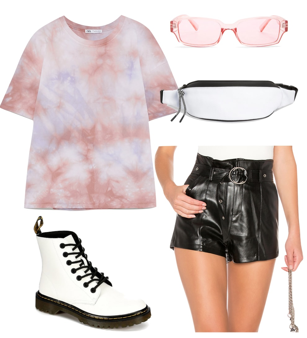 Romee Strijd Outfit: tie dye t-shirt, faux leather shorts with belt, white fanny pack, white lace-up combat boots, and pink tinted rectangle sunglasses