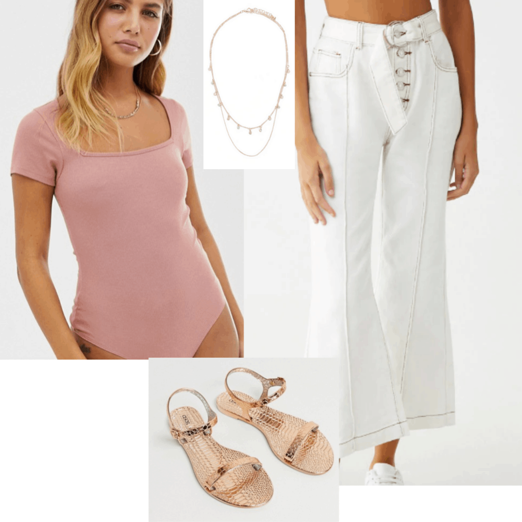Outfits for class - cute outfit idea with rose pink bodysuit, white pants, gold sandals and jewelry