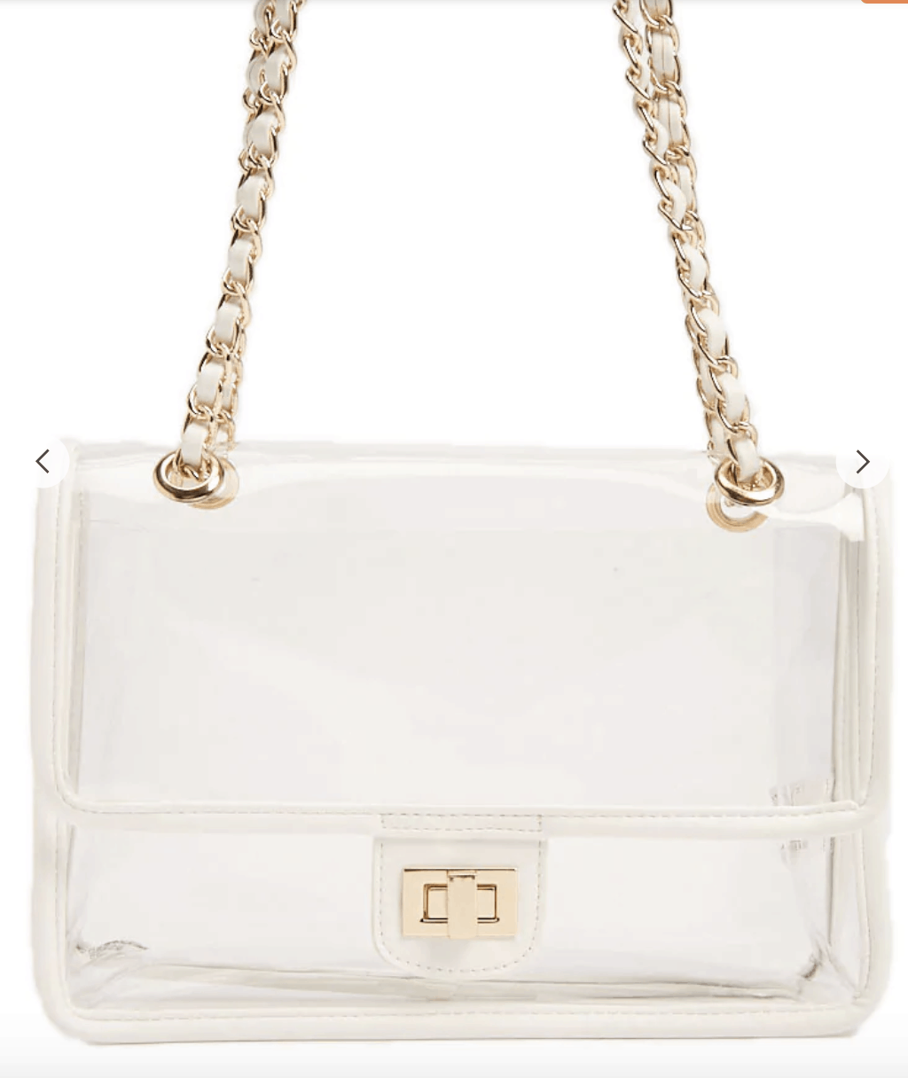 Clear handbag with chain strap - cute spring handbags on a budget