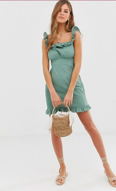 Cute spring dresses to add to your closet - sage green dress from ASOS