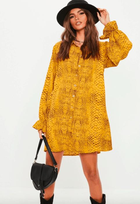 Snakeskin dress in yellow