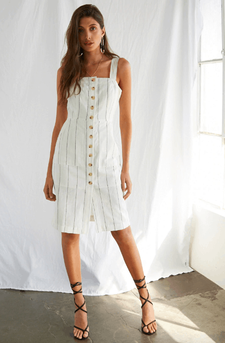 Vertical striped button front dress from Forever 21