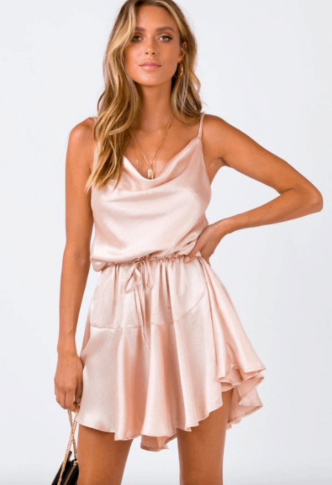 Blush satin dress