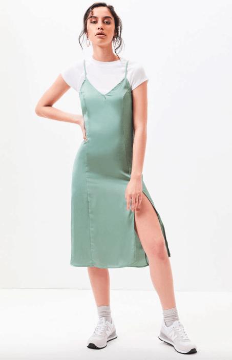 Mint green satin knee length slip dress