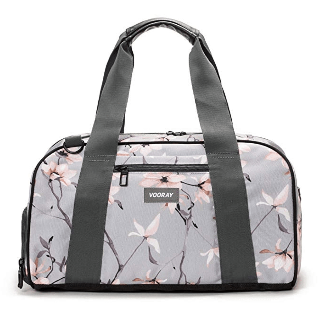 gym bag with grey straps and gray and pink flower print