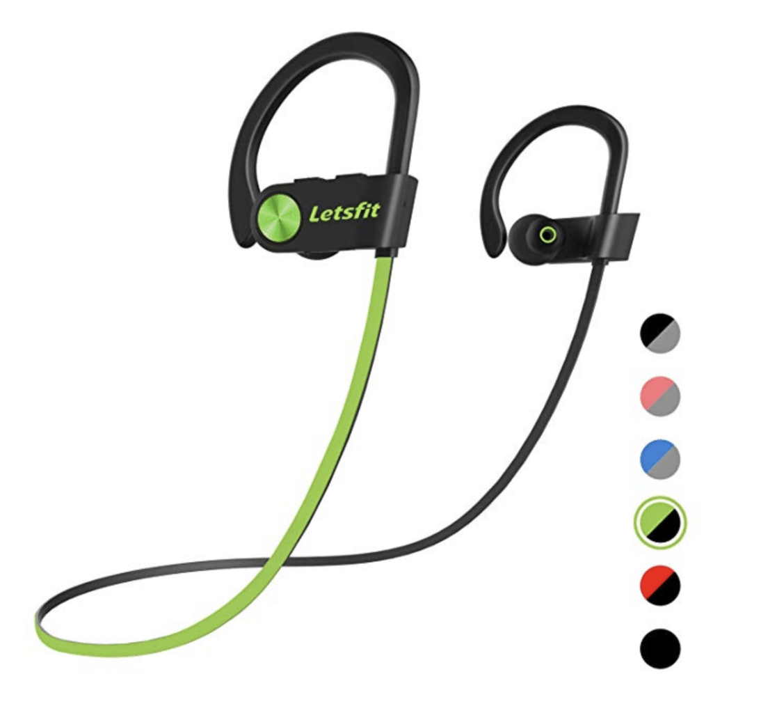 black and green wireless headphones