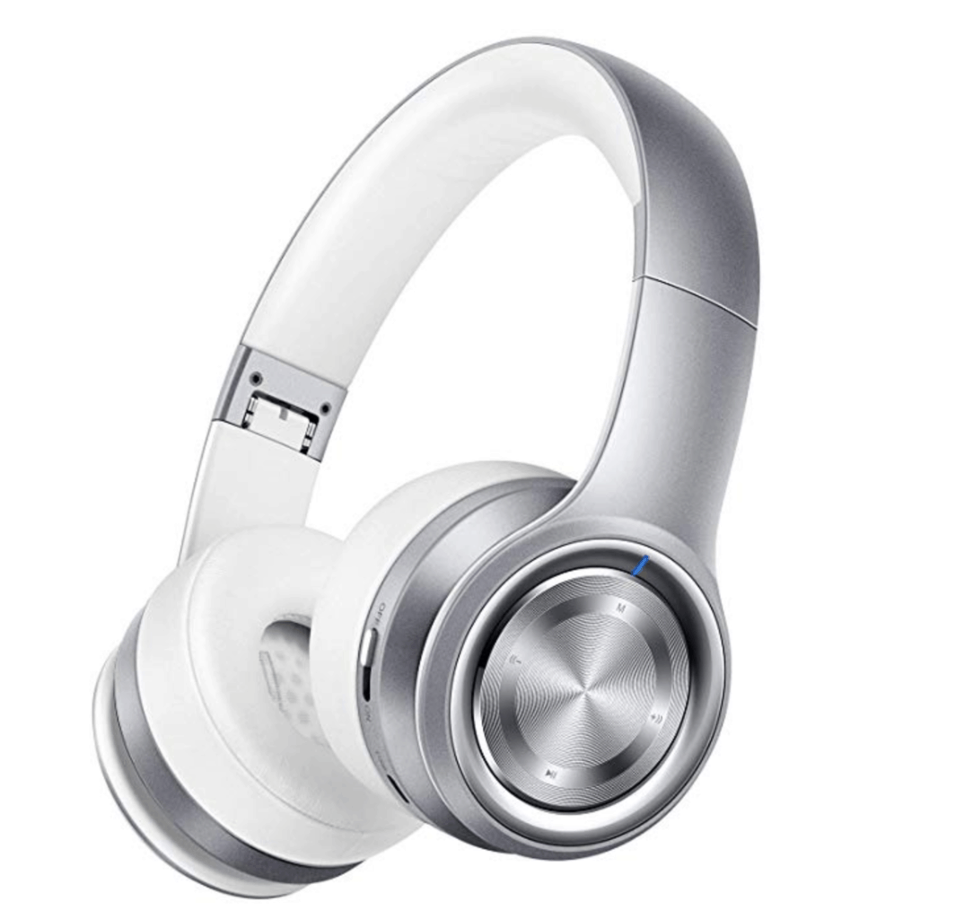 silver over the ear headphones
