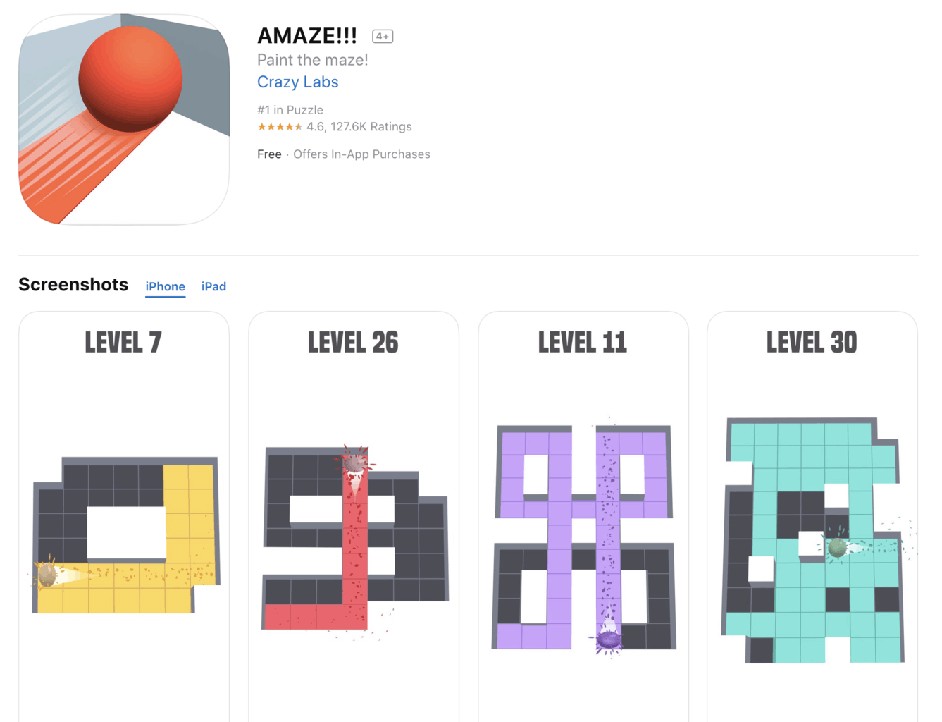 AMAZE!!! game app page on itunes