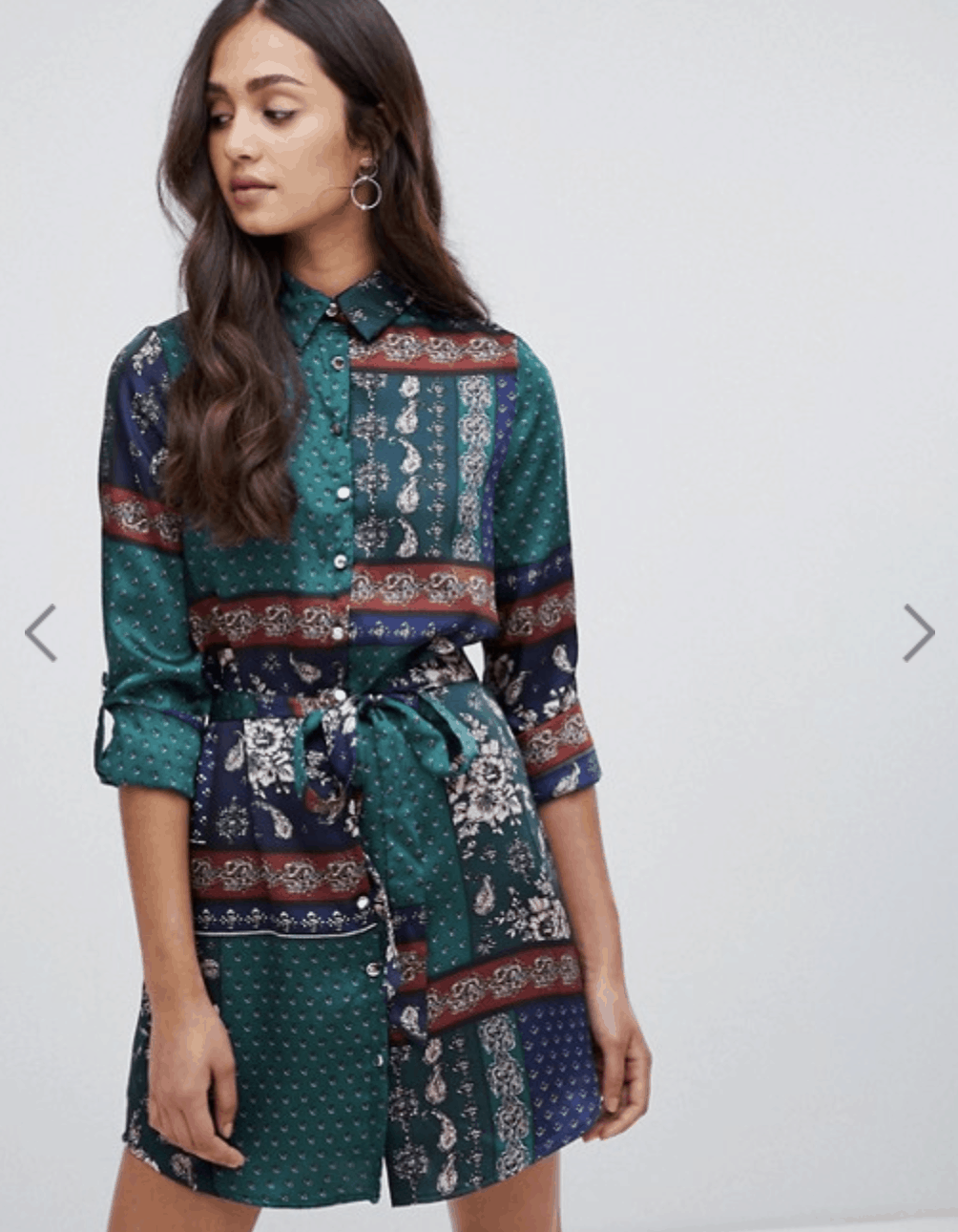 model in a shirt dress with bohemian scarf print