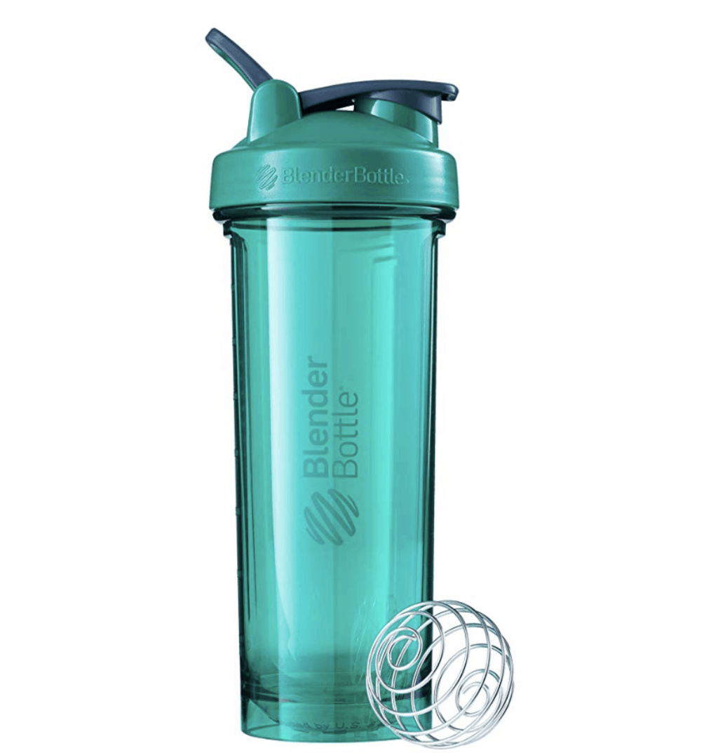 blue-green blender bottle