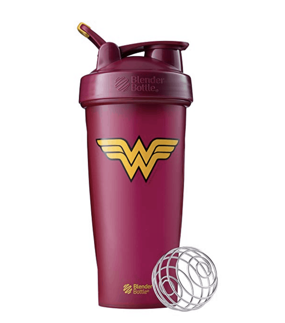 burgundy blender bottle with Wonder Woman logo