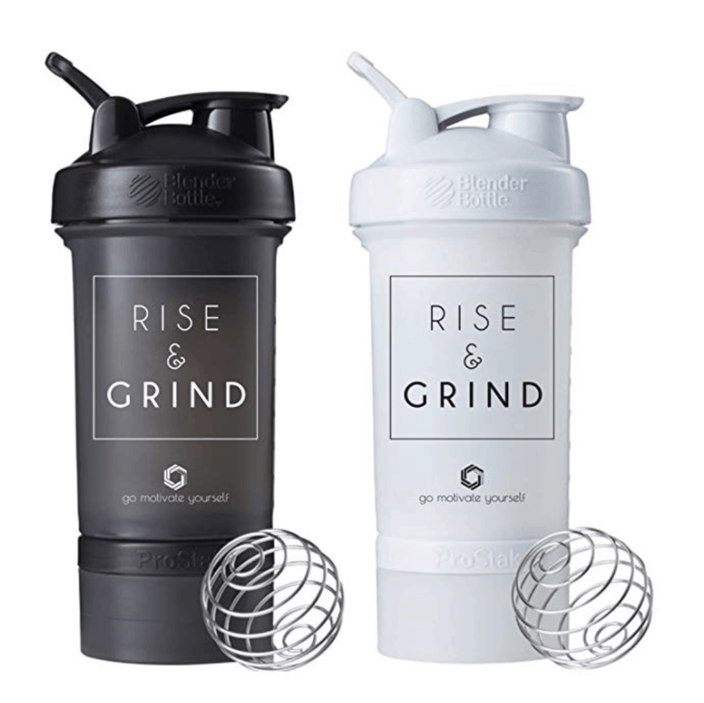 black and white blender bottles that say