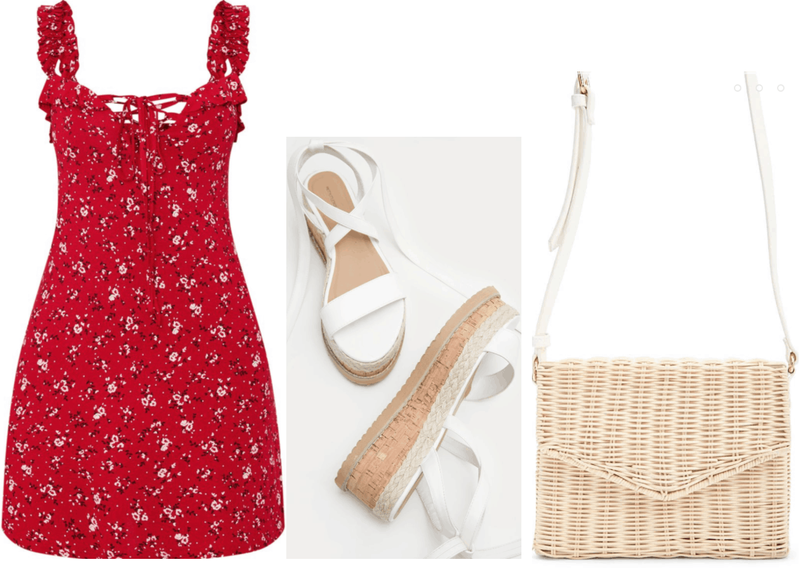 Lara jean Covey inspired outfit with red dress, flatform sandals, woven purse