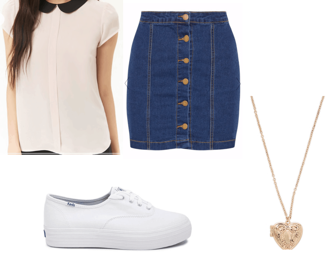 Lara jean Covey inspired outfit with denim skirt, white keds, peter pan collar blouse, heart locket
