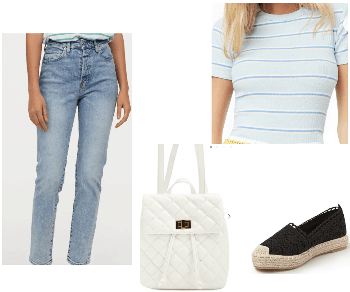Lara jean Covey inspired outfit with mom jeans, striped tee, espadrilles, quilted backpack