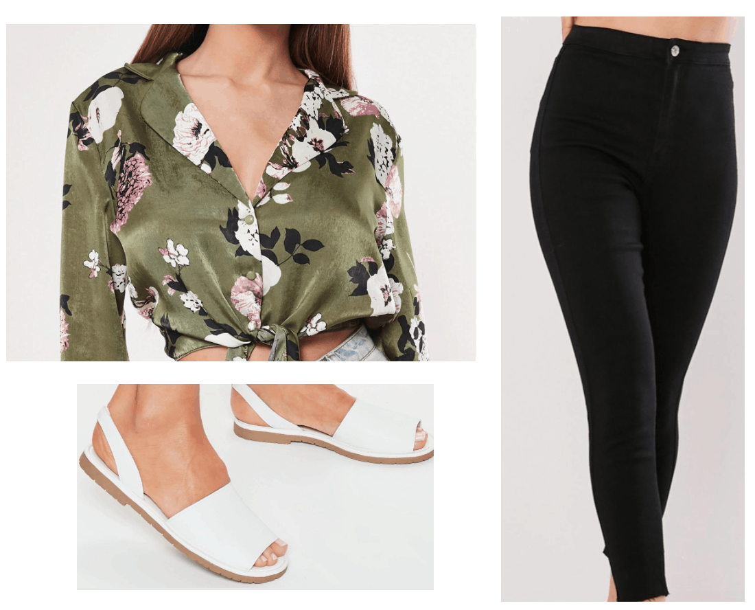 Outfit inspired by Macy from the Charmed TV show reboot - floral top, white slides, black skinny jeans