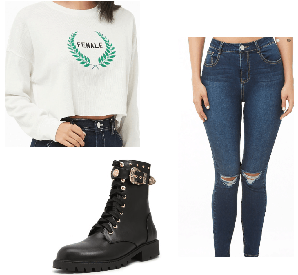 Outfit inspired by Mel from the Charmed TV show reboot - cropped sweatshirt, boots, ripped jeans