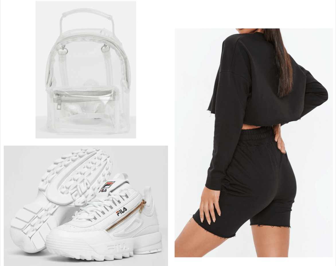 Outfit inspired by Sayeh Sharelo with black two piece set, white sneakers, clear backpack