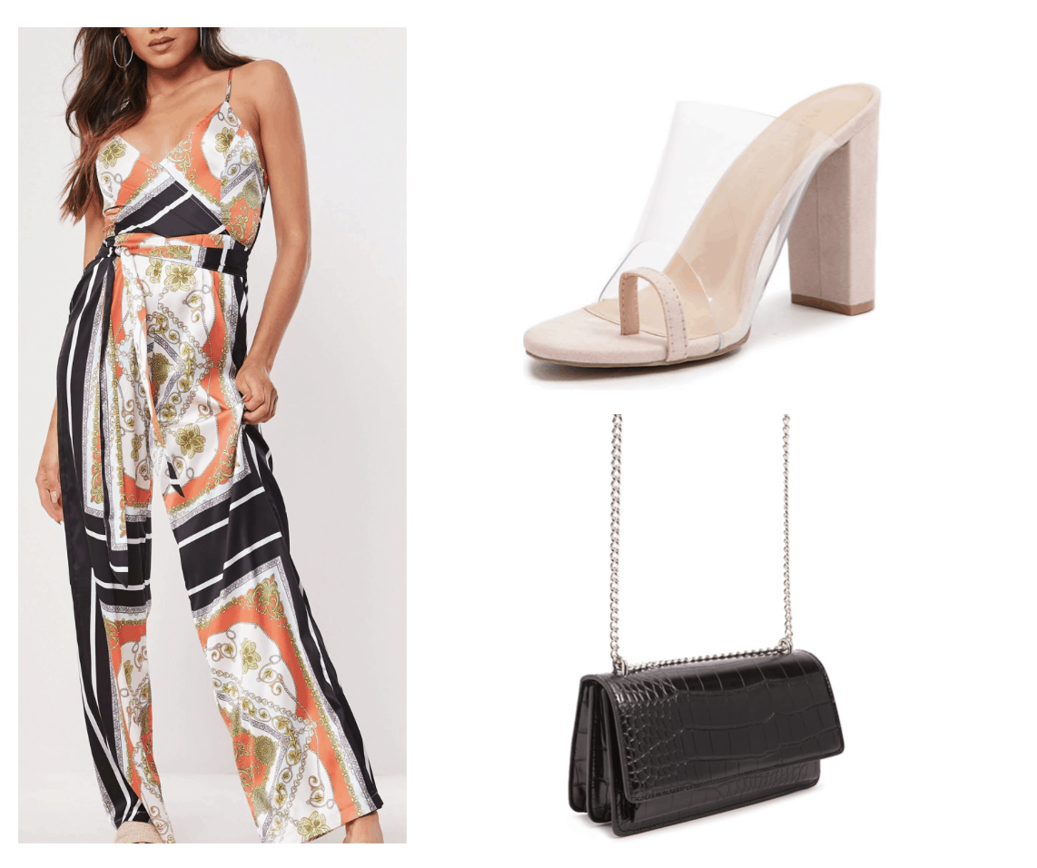 Outfit inspired by Sayeh Sharelo with patterned jumpsuit, clear heels, chain strap bag