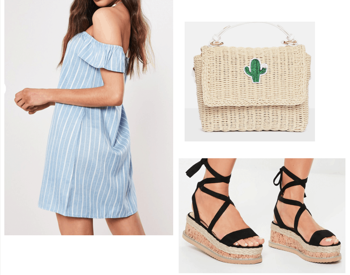 Outfit inspired by Sayeh Sharelo with off-shoulder dress, cactus purse,