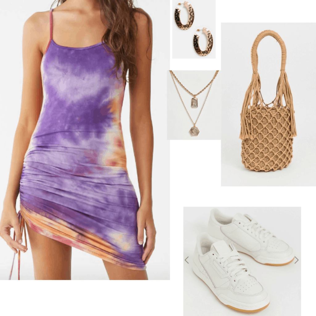 How to wear tie dye: Outfit for a summer day with tie dye dress, white chunky sneakers, woven bag, layered necklaces