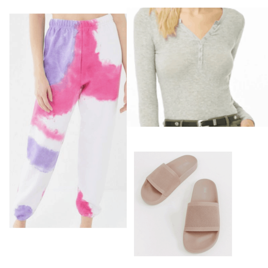 Tie dye loungewear outfit with tie dye sweats, white button-front bodysuit and slides