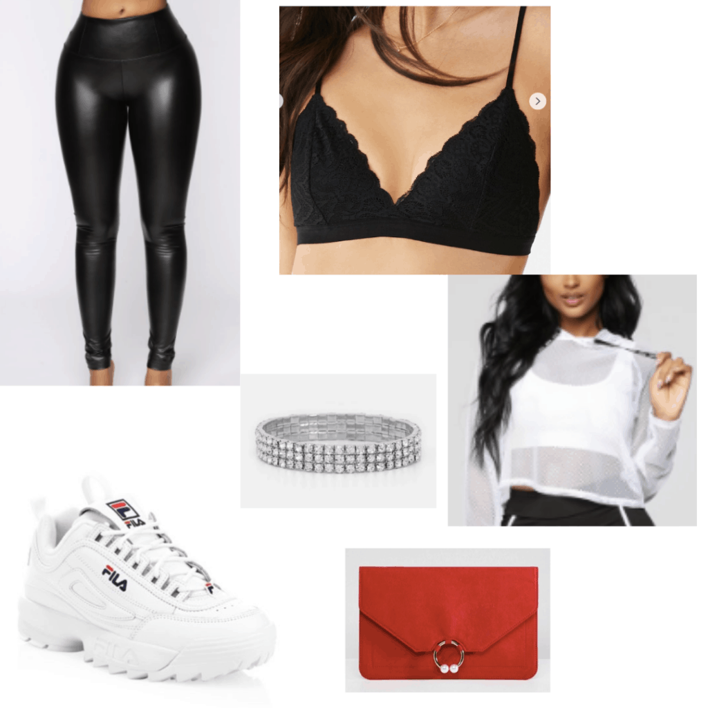 White fila sneakers outfit with black bralette, leather leggings, mesh hoodie, bracelet, red clutch