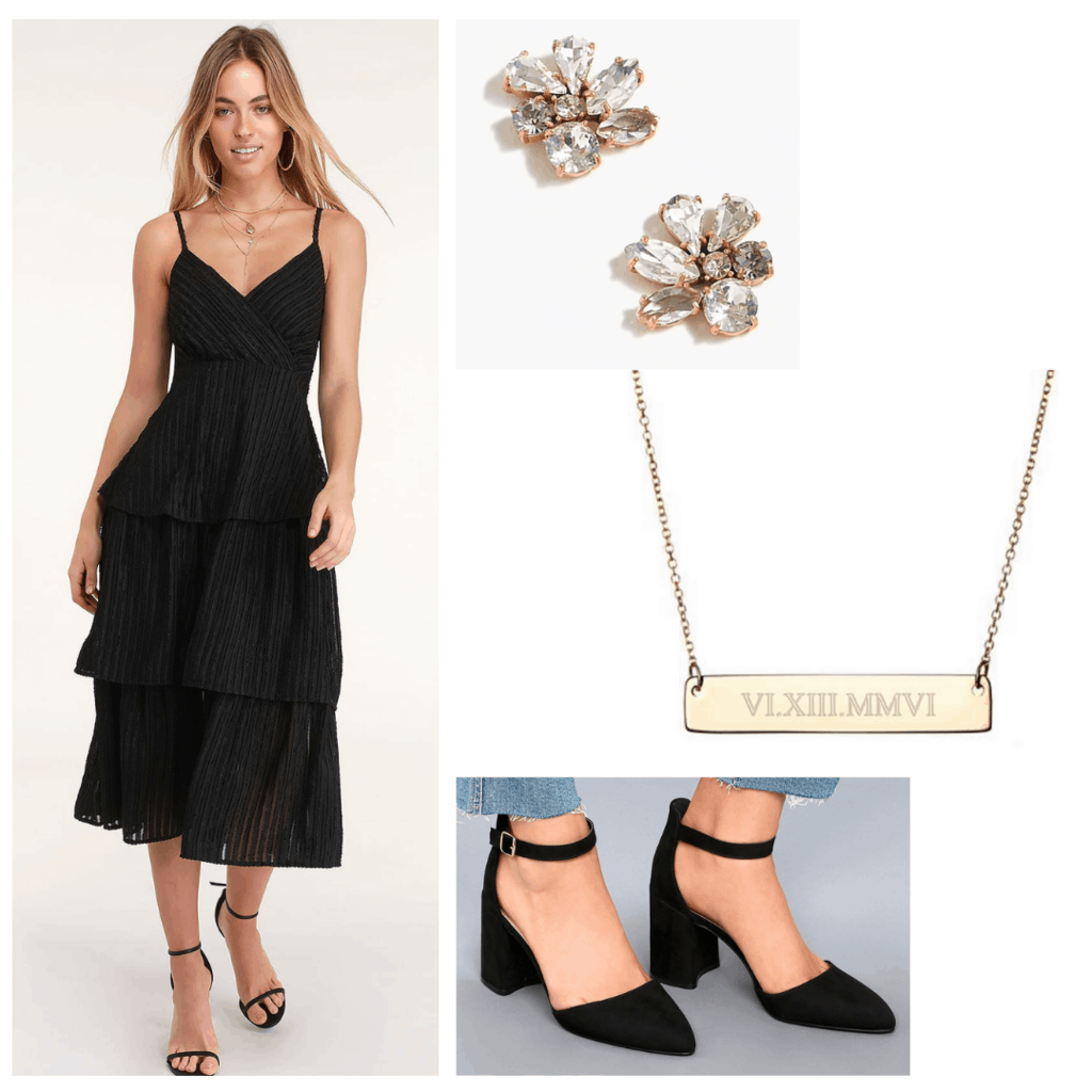 Classic little black dress graduation outfit set with black dress, diamond earrings, personalized necklace, and black heels