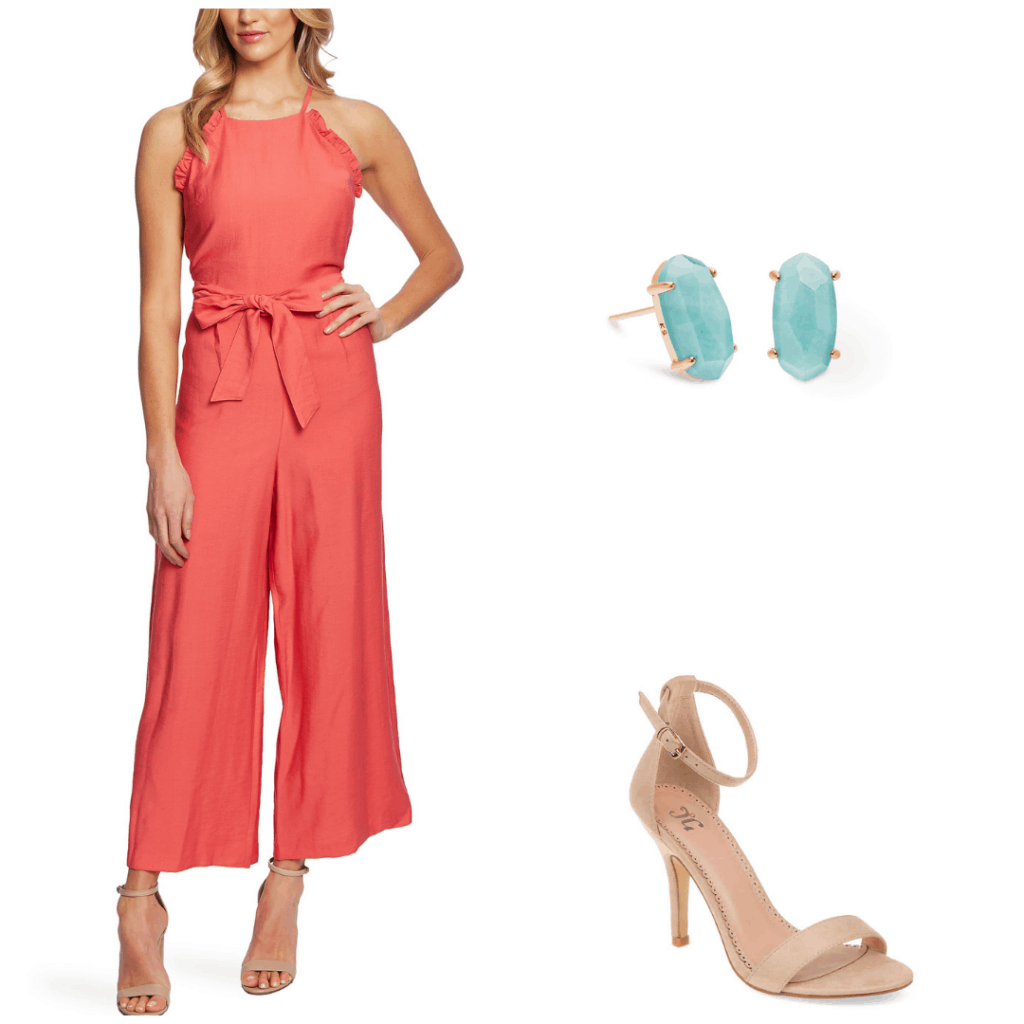 Bold graduation outfit with coral jumpsuit, teal earrings, and nude heels