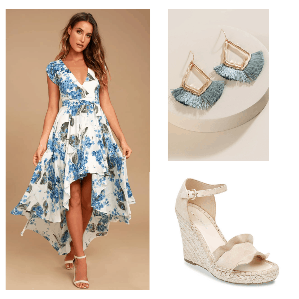 Floral dress graduation outfit set with floral blue dress, blue tassel earrings, and nude wedges