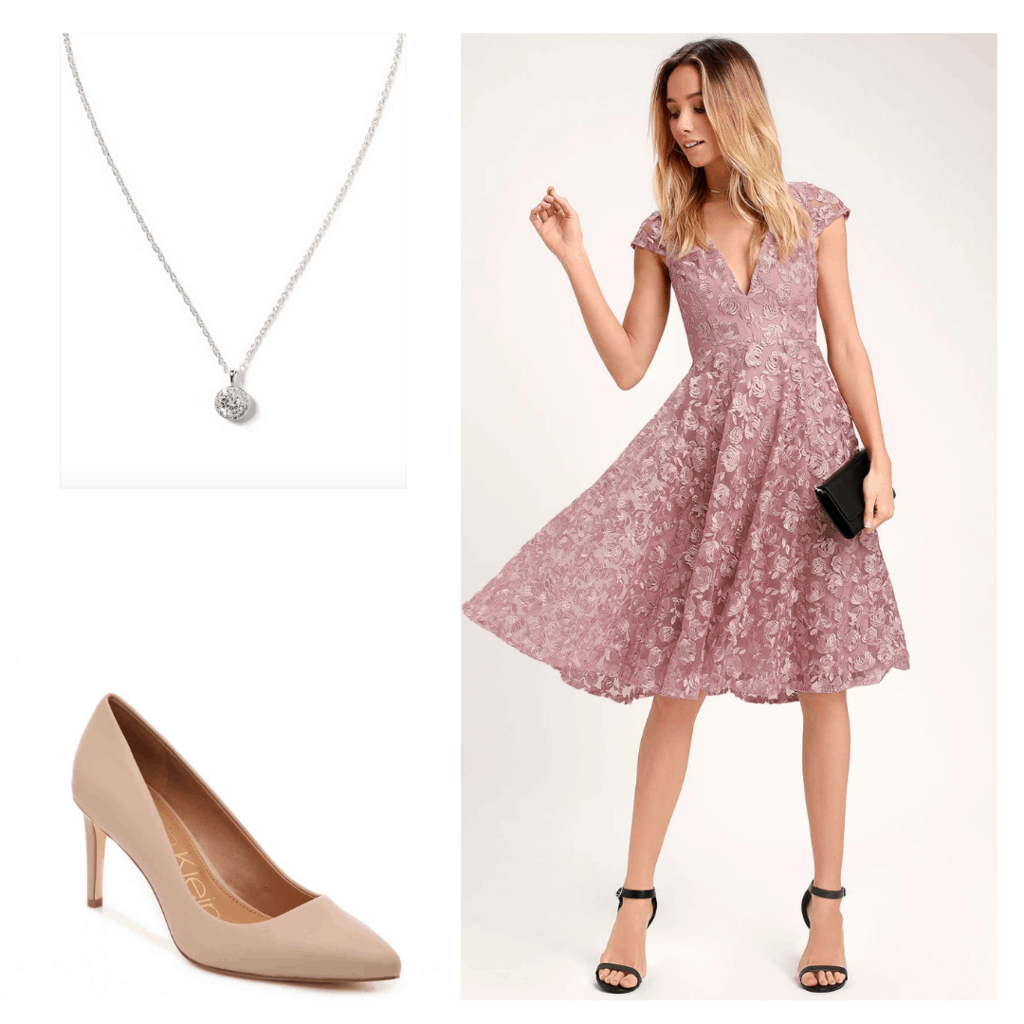 Polished graduation outfit with diamond necklace, nude heels, and a lilac satin dress
