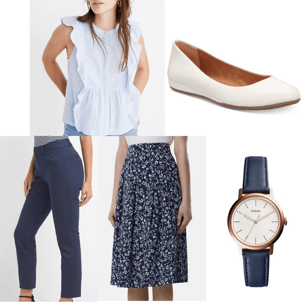 Other graduation outfit set with blue blouse, blue trousers, floral print skirt, white flats, and a navy watch