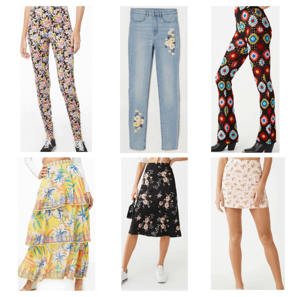 Floral Bottoms: Floral leggings, floral embroidered jeans, crochet pants, tiered maxi skirt, midi skirt, floral denim mini skirt