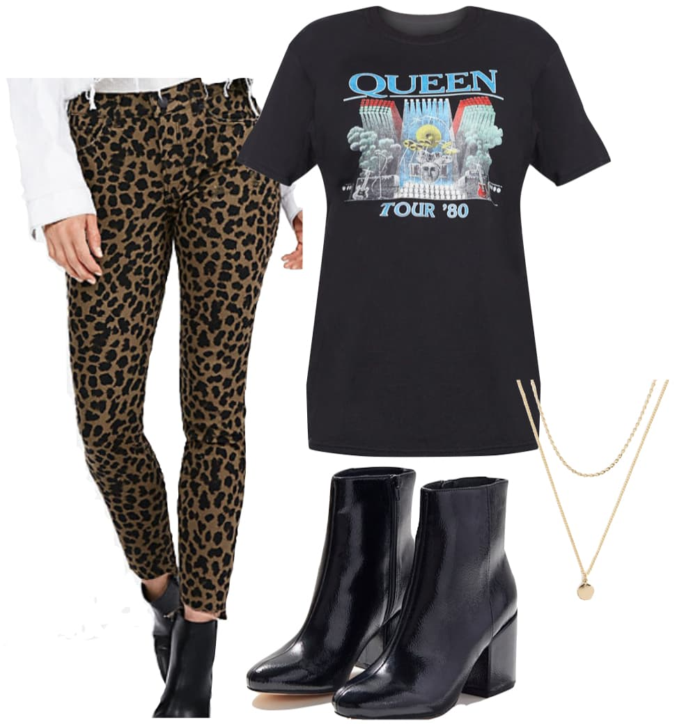 Vanessa Hudgens Outfit: leopard print jeans, oversized band t-shirt, layered gold necklace, and black ankle booties