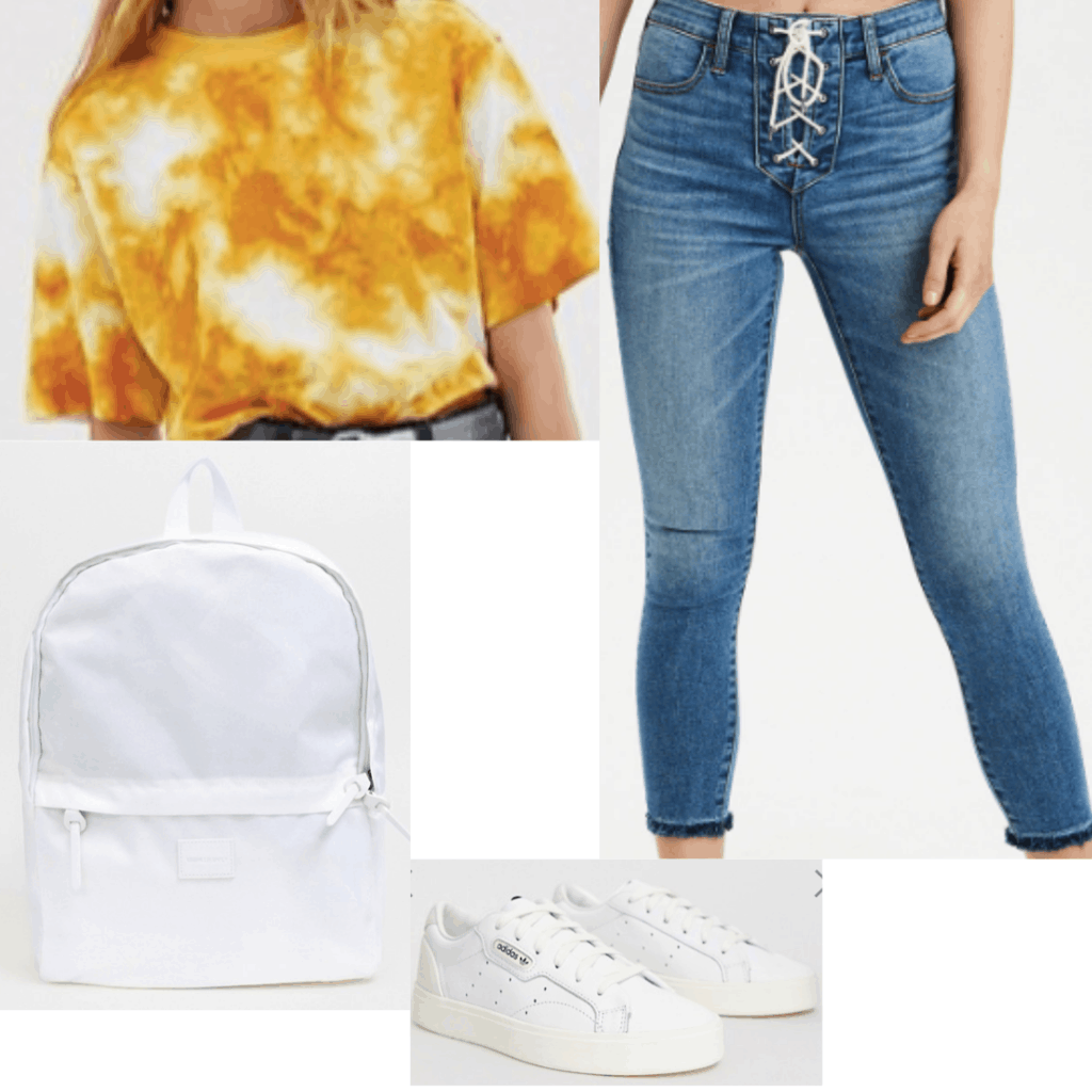 Tie dye outfit for a school day with simple jeans, tie dye tee shirt, white backpack, white sneakers