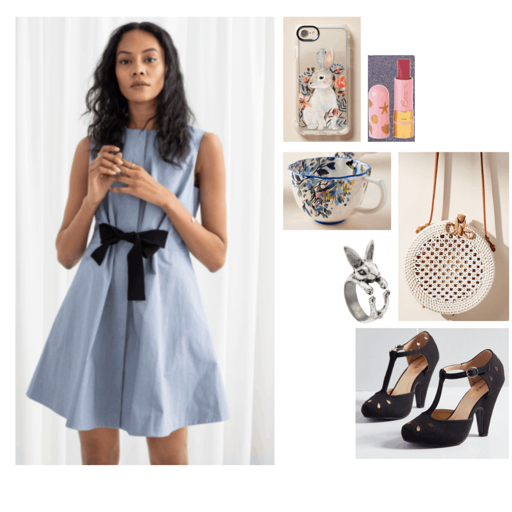 Alice in Wonderland outfits - outfit inspired by Alice's wardrobe with blue dress, mary-jane pumps, bunny ring and phone case, circle bag, tea cup